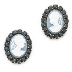 DANNIJO William Earrings (€125) ❤ liked on Polyvore featuring jewelry, earrings, navy, cameo jewelry, navy earrings, brass jewelry, vintage jewellery and vintage cameo jewelry
