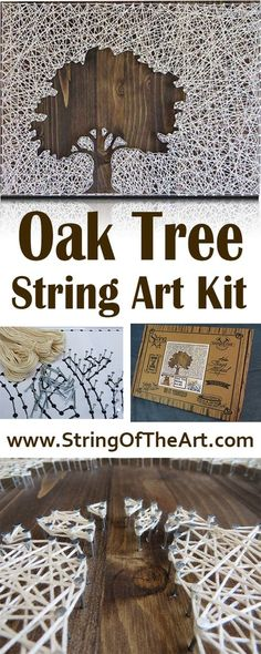 DIY Crafting String Art Kit - Oak Tree String Art, Crafts Kit, DIY Kit. Visit www.StringoftheAr... to learn more about this beautiful DIY String Art Oak Tree and how you can easily string it together and display it inside your home.