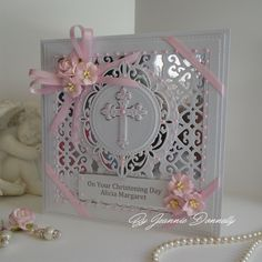 Christening Card, using dies from, #creative expressions / Sue Wilson, Nobel Pierced Squares and Circles, Embroidered Striplet Lattice Arched Adornment and a  Spellbinders Cross and Rectangle.