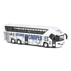 Real Madrid Team Bus: Real Madrid Team Bus with opening doors.Scaled model,Length: approx 20-21cm.Width:… #RealMadridShop #RealMadridStore