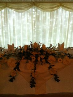 Curtain lights behind the top table