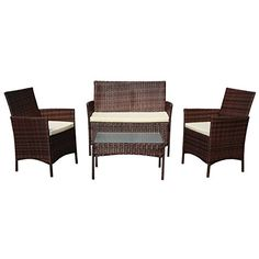 SVITA Gartenmöbel Poly Rattan Sitzgruppe Essgruppe Set Sofa Garnitur Lounge  Braun, Grau Oder Schwarz