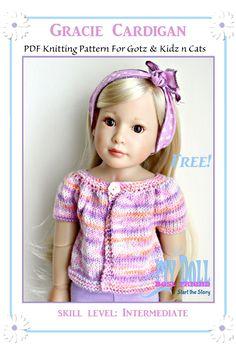 "FREE Gracie Cardigan Knitting PDF Pattern for 18"" dolls like Gotz and Kidz n Cats dolls"