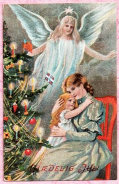 UNS-JENNY-NYSTROM-LOVELY-CHRISTMAS-ANGEL-VISITS-MOM-DAUGHTER-1910-POSTCARD