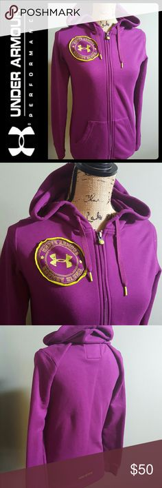 Under Armour Hoodie Zipper Coldgear Top Under Armour Signature Brand in Classic Hoodie Zipper Top!  Vibrant Purple Shade with Lime Accent! Patented UA Coldgear Style in 100% Polyester! Small Sized, Used in Good Condition! Under Armour Tops Sweatshirts & Hoodies
