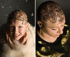 Tatuagem com henna em mulheres em tratamento de quimio. Belíssima ideia.