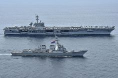 Sailing the South China Sea offshore (Nov. Aircraft carrier USS Theodore Roosevelt (CVN and guided-missile destroyer USS Lassen Uss Theodore Roosevelt, Us Navy Ships, Home Of The Brave, Land Of The Free, Power Boats, Submarines, Aircraft Carrier, Military History, Sailing Ships