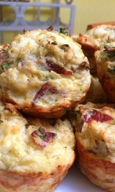 Petits pains au cheddar,basilic, jambon et pommes de terre #recettesduqc #brunch