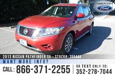 2013 Nissan Pathfinder SV - Sport Utility Vehicle - V6 3.5L Engine - Remote Keyless Entry - Alloy Wheels - Spoiler - Tinted Windows - Roof Racks - Safety Airbags - Powered Windows/Locks/Mirrors/Driver Seat - Seats 7 - AM/FM/CD - Bluetooth - iPod/Aux Port - Push Button Start - Cruise Control - Outside Temperature Display - Backup Camera and more!