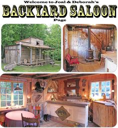 A backyard saloon made entirely out of recycled lumber--many of which are pallet boards. The concept was to build it out of materials that existed in the Pallet Crafts, Pallet Projects, Pallet Ideas, Pub Sheds, Bar Shed, Pallet House, Building A Chicken Coop, Outdoor Living, Outdoor Decor
