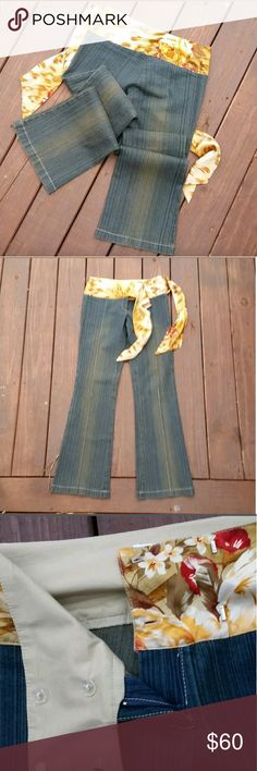 Cache Size 6 Womens Jean's, Flare, Funky, Fabulous Has Satin Floral Tie Belted Waste Giving that Vintage 70s Vibe.  HAS 34 Inch Inseam.  Great Pre-owned Condition  (no rips, Tears or stains) Cache Jeans Flare & Wide Leg