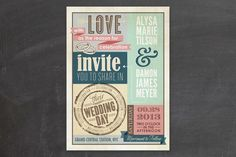Amazing eclectic wedding invitation, inspired by vintage commercial posters from the late 1950s. The coordinating invitation suits are to DIE for as well.