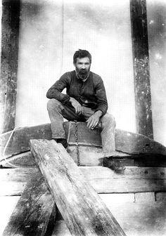 Constantin Brâncuşi (1876 - 1957), Romanian sculptor, in his studio, self-portrait, ca. 1915