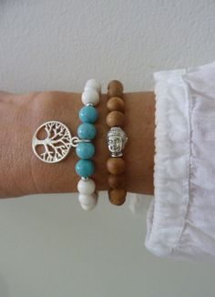 this listing is for 2 beaded bracelets beachcomber yoga bracelets aromatic sandalwood beads with an antique silver Buddha bead Bohemian Bracelets, Bohemian Jewelry, Handmade Bracelets, Beaded Jewelry, Handmade Jewelry, Ethnic Jewelry, Buddha Jewelry, Yoga Jewelry, Bracelets Fins