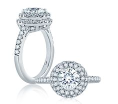 Double Pave Halo Modern Classic Engagement Ring