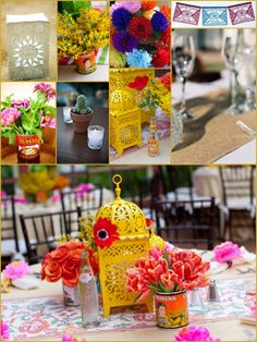 Mexican wedding decor. I liked the candle bag in this pic