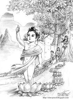 Buddha Life, Buddha Buddhism, Buddhist Art, Buddha Artwork, Buddha Painting, Lord Ganesha Paintings, Krishna Painting, Buddha Flower, Thai Art