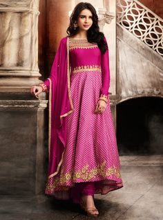 Buy Magenta Satin Long Anarkali Suit 116756 online at lowest price from vast collection at m.indianclothstore.c.