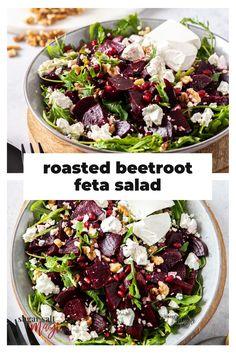 Beetroot Feta Salad, Baked Beetroot, Beetroot Recipes Salad, Side Salad Recipes, Side Dish Recipes, Healthy Diet Recipes, Healthy Eating, Vegan Recipes, Ideas