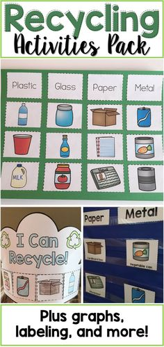 Recycling Activities Pack - This is the perfect addition to your recycling or Earth Day unit!  It includes a sorting activity, pocket chart cards, two crown templates, graphing pages, a labeling page, an interactive book activity, and more!