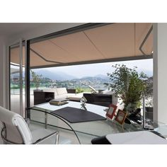 Shade your outdoor living space and add style with the Advaning Luxury L-Series Motorized Awning - Striped . This motorized awning is a snap to use,. White Pergola, Metal Pergola, Deck With Pergola, Backyard Pergola, Pergola Shade, Patio Roof, Back Patio, Pergola Plans, Pergola Kits