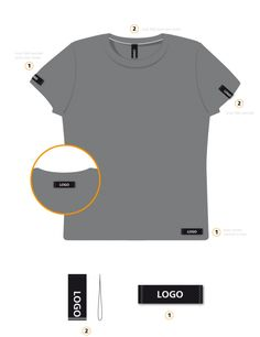 Woven label placement guide for branding mens t-shirt garment.