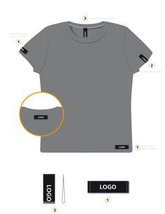 Woven label placement guide for branding mens t-shirt garment. Shirt Print Design, Shirt Designs, T Shirt Weaving, Clothing Brand Logos, T Shirt Label, Clothing Labels, Clothing Packaging, Women's Clothing, Apparel Design