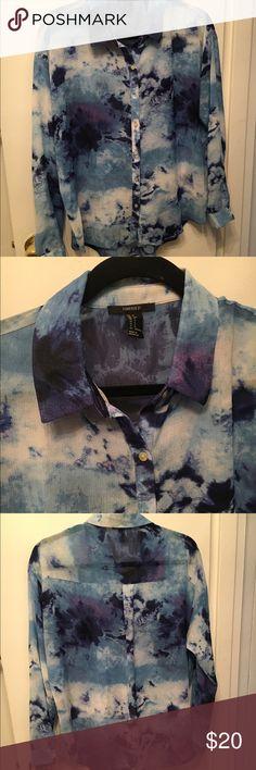 High-low shirt High-low tie-dye oversized button-down shirt Forever 21 Tops Button Down Shirts