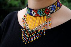 Yellow tribal necklacebeaded choker by akwaabaAfrica on Etsy
