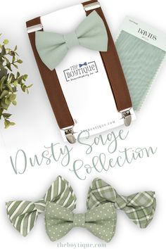 Our dusty sage bow tie and suspender set is exactly what you've been searching for! Our light green bow tie bow is soft and muted. We have a large range of colors and styles to match perfectly with your dusty sage bridesmaid dresses. #dustysagebowtie #dustysagewedding #bowtieandsuspenders #weddingaccessories #weddingattire #groomsmen #weddingplanning Groomsmen Outfits, Groom And Groomsmen Attire, Bow Tie Collar, Tie Bow, Sage Wedding, Rustic Wedding, Wedding Ideas, Beach Wedding Groom Attire, Brown Suspenders