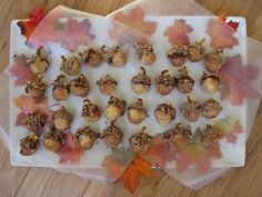 Acorn Activity by nikimaki, via Flickr Doughnut hole, frosting crushed toffee, and pretzel pieces