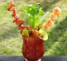 Super yummy Bloody Mary Bomb made with vodka,Shrimp and Bacon #cocktailrecipe
