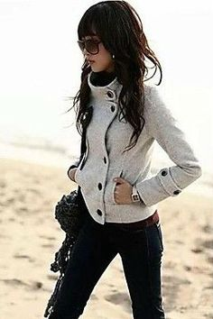 love this buttoned coat for fall