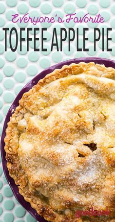 Toffee Apple Pie | Like a Caramel Apple Pie, but butter, because it has toffee bits melted inside. | Refrigerated pie crust, apples, pie recipes, recipe, dessert, classic, traditional, twist, treat, sweets, pastry, pastry, make your own, potluck, summer