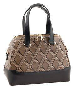 Look at this #zulilyfind! Taupe & Black Diamond Leather Satchel by Valentina #zulilyfinds