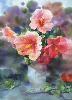 Watercolor Flowers, Watercolor Art, Chen, Painting Lessons, Flower Vases, Still Life, Beautiful Flowers, Colours, Rose