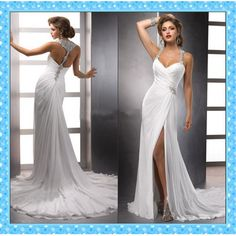 Women's Halter Racer Back Chiffon Wedding Dress w/ Front Slit & Crystal & Bead