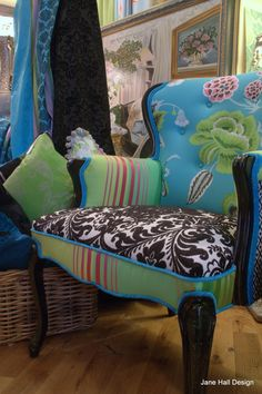 Pair of Hand Painted and Upholstered Carved Arm Chairs