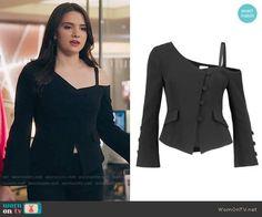 Jane's black one-shoulder jacket on The Bold Type. Outfit Details: https://wornontv.net/77193/ #TheBoldType