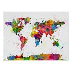 Poster | WELTKARTE ALS AQUARELL von iArtPrints | #art #artwork #design #digital #drawing #graphic #illustration #painting #print #kunst #zeichnung #grafik #abbildung #druck #worldmap #map #mapoftheworld #world #earth #earthmap
