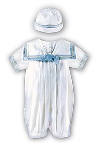 1a9f67e8bd0 Boy s Heirloom Christening - Ivory Silk Sailor Christening Outfit with Blue  Trim