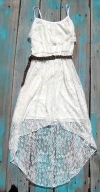 Pretty White Lace Summer High Low Dress