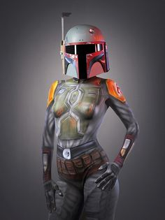 In preparation for Star Wars Day 2014 May 4 2014 .the team from Naked Vegas have released these cool Darth Vadar and Boba Fett, Star Wars body paint creations. Camouflage, Body Paint Cosplay, Film Science Fiction, Skin Wars, Illusion Pictures, Back In The 90s, Star Wars Girls, Girl Body, Costumes