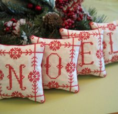Redwork Cross Stitched Christmas NOEL Shelf by CherieWheeler, $32.00