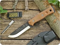TOPS Knives, TPBROS01 B.O.B. (Brothers Of Bushcraft) Fieldcraft Fixed Blade Hunting / Survival / Bushcraft / Outdoor / Camping / Hiking / General Purpose / Knife w/ Tan Canvas Micarta Handle - Fixed Blade Knives
