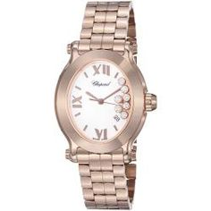 "Chopard Women's 'Happy Sport Oval' White Dial Rose Gold Diamond Watch. I want one just so I can be a ""Happy Sport"" LOL   I love Chopard"