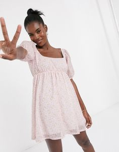 New Girl Order x Hello Kitty mini smock dress with puff sleeves in all over print Hello Kitty Rosa, New Trends, Latest Trends, Asos, Smock Dress, New Girl, Manga, Fashion Prints, New Outfits