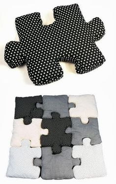 Beautiful Puzzle Pillows. Fun thing to make for the kids room when they are little.