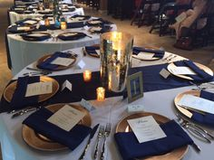 Rental: Navy Blue Polyester Napkins (150 in stock)- Check out our gold beaded chargers! Check out our Navy Runners!