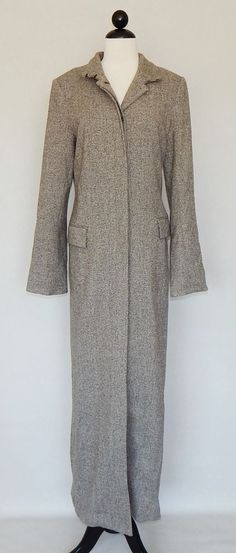 THEORY Long Brown Tweed Lined Modern Coat Jacket Lined Winter Fall - Size L #Theory #BasicCoat